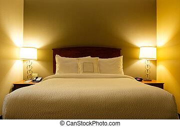 interior, de, un, rey, cama, habitación de hotel