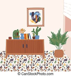 Interior decor and modern furniture banner design. Wooden cabinet with various books, a vase with dried grass bunches, potted plants, poster, and a background with a wall and terrazzo floor.