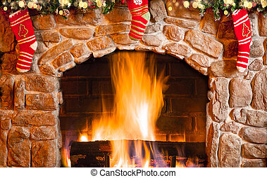 Interior decorated for Christmas. Fireplace with socks.