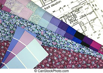 Interior Decorating - Fabric and paint swatches layed out on...