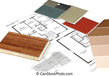 Floor plans and decorating samples.