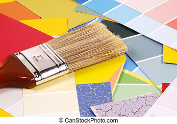 Interior Decorating - Paintbrush and Paint Chips