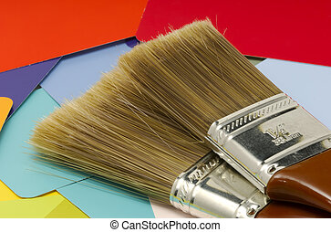 Interior Decorating - Paintbrushes and Color Swatches