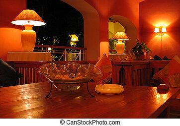 Interior Decoration - Hotel lobby decoration at night