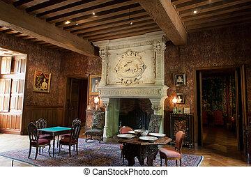 Interior decoration in castle of Azay-le-Rideau. Loire...