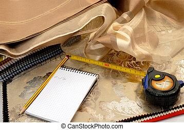interior decoration textiles. - samples of fabrics and...