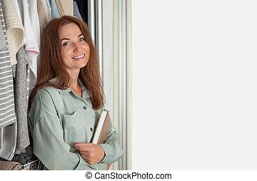 interior., dela, menina, diário, roupas, organização, wardrobe., storage., planificação
