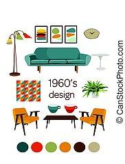 interior design 1960. mid century modern furniture.  mood board. vector elements set.