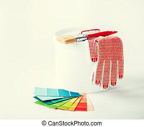 paintbrush, paint pot, gloves and pantone samplers -...