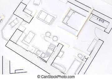 Interior design apartments - top view. Paper model