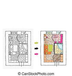 Interior design apartments - top view. Ragged lines, sketch handwork