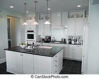 Interior Design - beautiful modern kitchen with center...