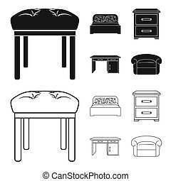Interior, design, bed, bedroom .Furniture and home interiorset collection icons in black, outline style bitmap symbol stock illustration web.