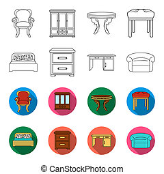 Interior, design, bed, bedroom .Furniture and home interiorset collection icons in outline, flat style bitmap symbol stock illustration web.