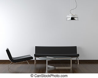 interior design black living room on white