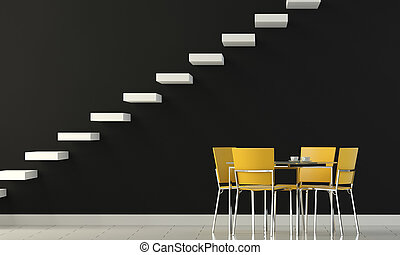interior design black wall with yellow chairs