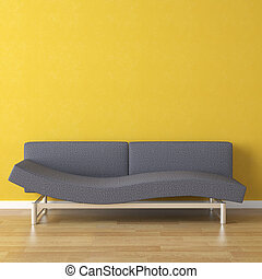 interior design scene blue couch on a yellow wall background with copy space