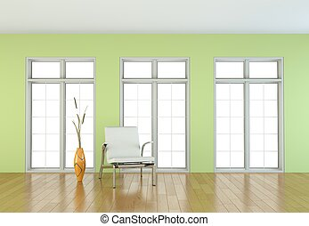 Interior design bright room with white chair