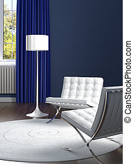 interior design classic blue room with white chairs