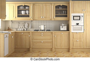 interior design of wood classic kitchen in neutral colors and full equiped