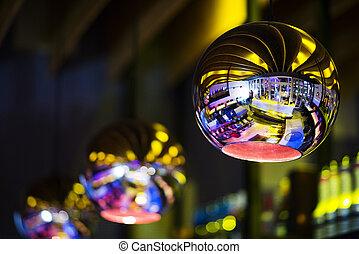 interior design detail in modern trendy bar at night