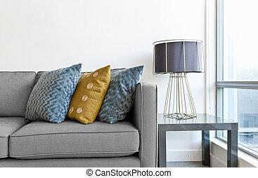 Interior design detail - Interior design with couch, ...