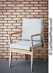 interior design detail of retro wood furniture