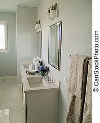 Interior Design - Duel sinks in a pretty, modern bathroom