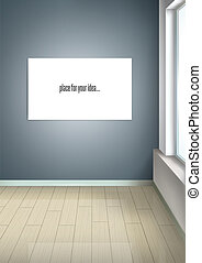 Interior design. Empty room with a window. Room in perspective. White picture without a frame on the wall. Vector.