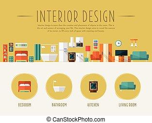 Interior Design. Flat Vector Illustration.