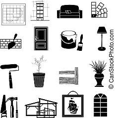 Interior design icons set in black.