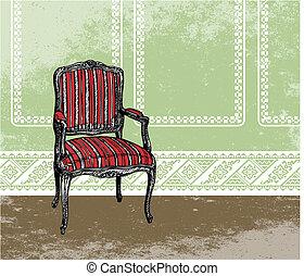 Interior design illustration - Interior design scene with an...