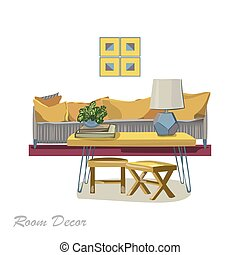 Interior design illustration. Modern yellow living room trendy s