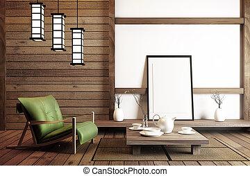 interior design Japanese style. 3D rendering