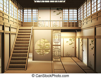 interior design Large two story room japan style. 3D rendering