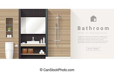 Interior design Modern bathroom background 3 - Interior...