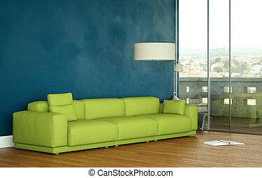 Interior design modern bright room with green sofa