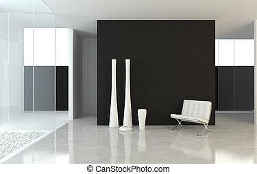 interior design modern B&W - interior design scene of a...