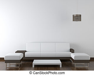 interior design of modern white and brown living room furniture against white wall with a lamp hanging and lots of copy space