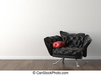 Interior design of black chair on white wall