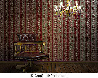 interior design of classic armchair with golden details