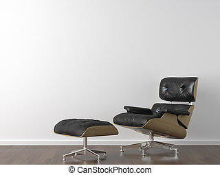black leather armchair on white wall - interior design of ...