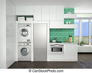interior design of kitchen with washing machines. 3d...