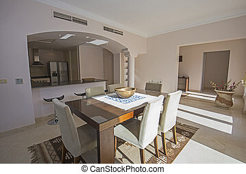 Interior design of luxury apartment kitchen and dining area