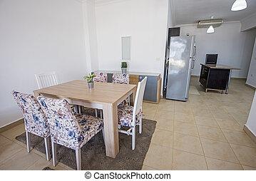 Interior design of luxury apartment open plan dining area