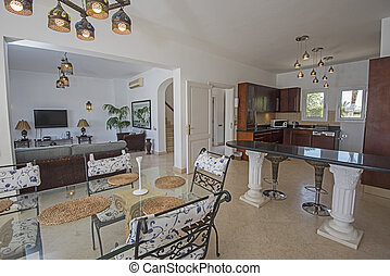 Interior design of luxury villa open plan kitchen
