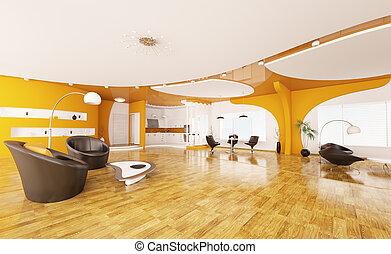 Interior design of modern apartment 3d render