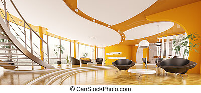 Interior design of modern apartment panorama 3d render -...
