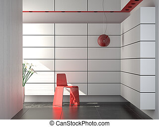 interior design of modern red white and black composition