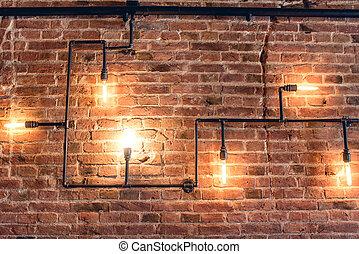 interior design of vintage wall. Rustic design, brick wall...